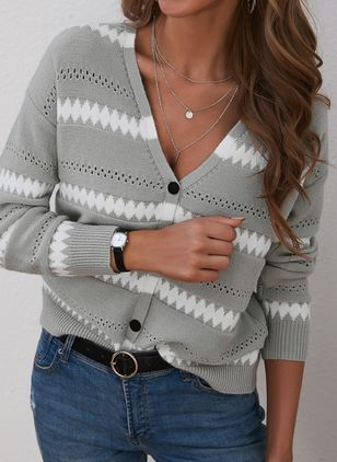 V-Neckline Color Block Casual Loose Regular Buttons Sweaters (146909247)