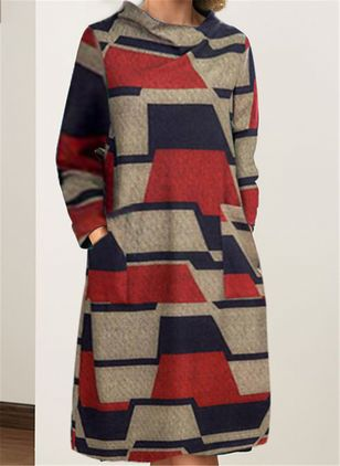 Casual Color Block Long Sleeve Knee-Length Dress (118207766)