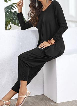 Casual Straight High Waist Cotton Blends Pants Jumpsuits (101987949)