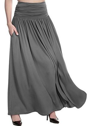 Solid Maxi Elegant Pockets Skirts