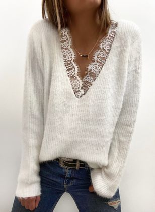 V-Neckline Solid Casual Regular Lace Sweaters (146718942)