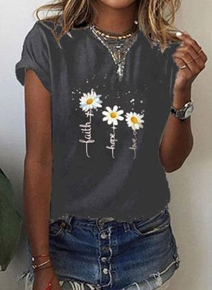 Floral Round Neck Short Sleeve Casual T-shirts (100546944)