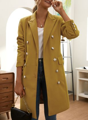 Long Sleeve Buttons Coats (146908640)