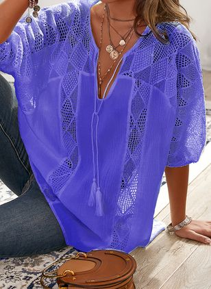 Plus Size Solid Casual V-Neckline 3/4 Sleeves Blouses (106587863)