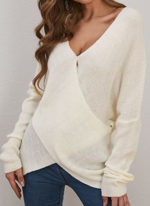 V-Neckline Solid Casual Asymmetrical Shift Sweaters (146909256)