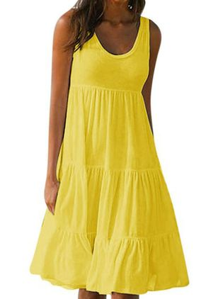 Casual Solid Tank Round Neckline A-line Dress (4209825)
