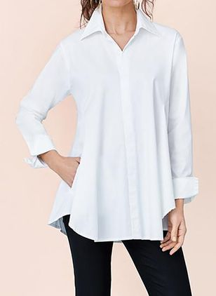 Solid Casual Collar Long Sleeve Blouses (110711587)