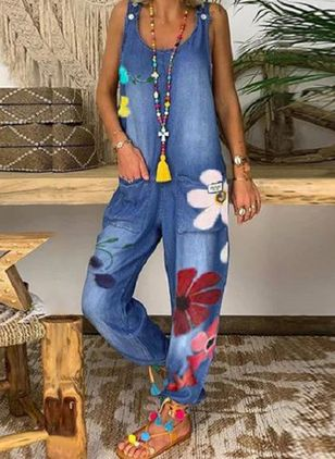 Casual Straight High Waist Denim Jumpsuits Jeans (4209592)