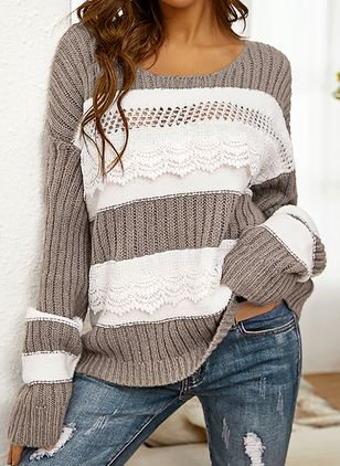 Round Neckline Color Block Casual Regular Shift Sweaters (146931681)