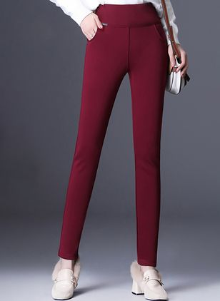 Casual Straight Pockets High Waist Polyester Pants (146780880)