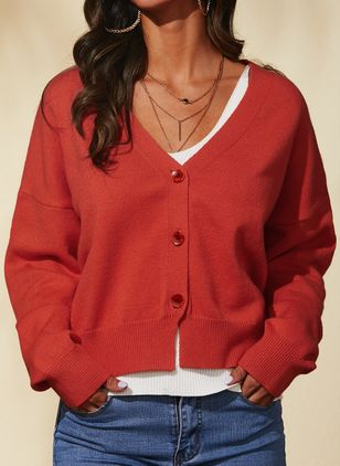 V-Neckline Solid Casual Regular Shift Sweaters (1485031)