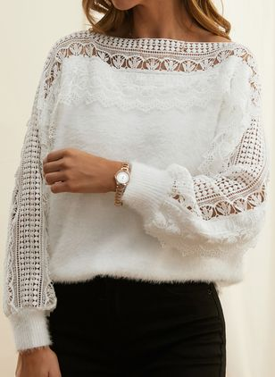 Round Neckline Solid Vintage Loose Regular Lace Hollow Out Sweaters (146909246)