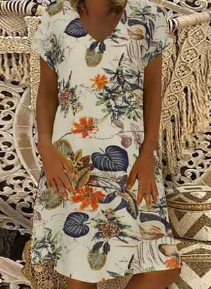 Casual Floral Tunic V-Neckline A-line Dress (100546909)