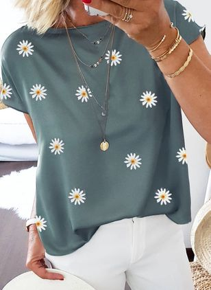 Floral Round Neck Short Sleeve Casual T-shirts (100546808)