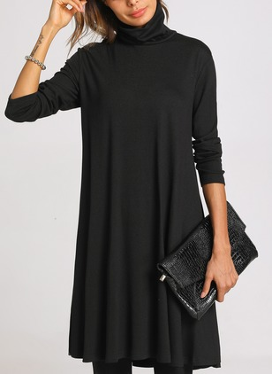Casual Solid Long Sleeve Knee-Length Dress (1352570)