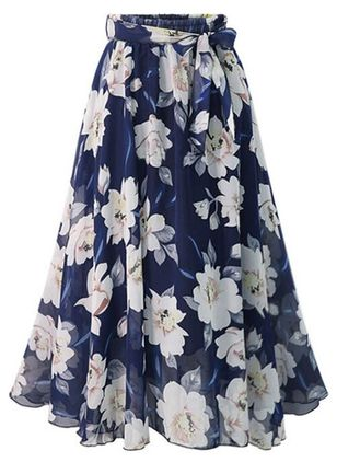 Floral Mid-Calf Casual Sashes Skirts