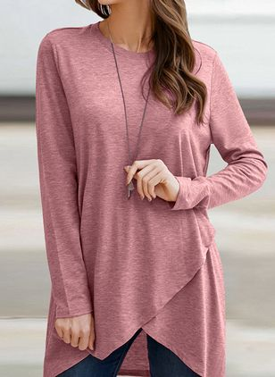 Solid Casual Round Neckline Long Sleeve Blouses (105153753)