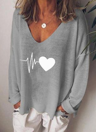 Geometric V-Neckline Long Sleeve Casual T-shirts
