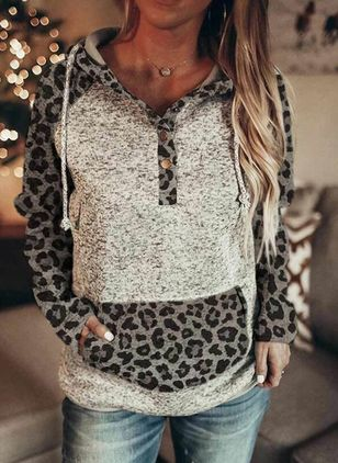 Leopard Casual V-Neckline Long Sleeve Blouses (146747102)