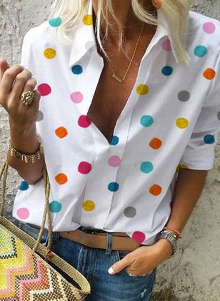 Polka Dot Casual Collar Long Sleeve Blouses (1529663)