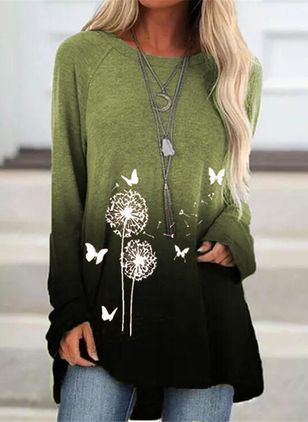 Floral Casual Round Neckline Long Sleeve Blouses (118207800)