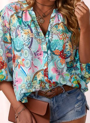 Floral Casual Collar 3/4 Sleeves Blouses (1536645)