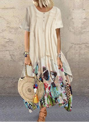 Casual Floral Tunic Round Neckline Shift Dress (4356129)