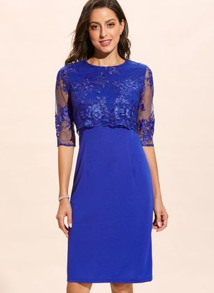 Plus Size Solid Round Neckline Half Sleeve Midi X-line Dress