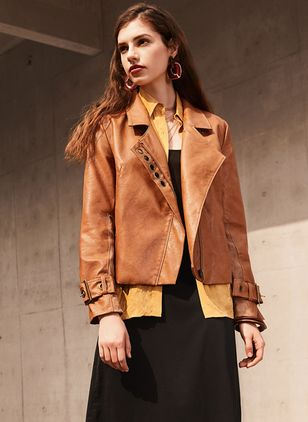 Long Sleeve Lapel Zipper Leather Coats (1391999)
