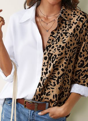 Leopard Casual Collar Long Sleeve Blouses (1537339)