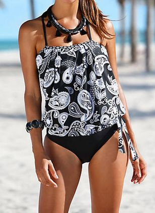 Polyester Halter Knotted Floral Tankinis Swimwear (1348167)