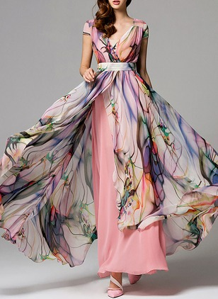 Floral Sashes Wrap V-Neckline X-line Dress (1347382)