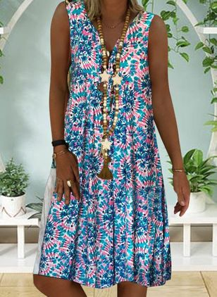 Casual Floral Tunic V-Neckline A-line Dress (101987886)