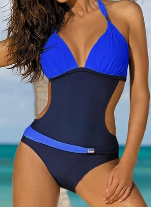 Polyester Halter Color Block One-piece Swimwear (1542237)