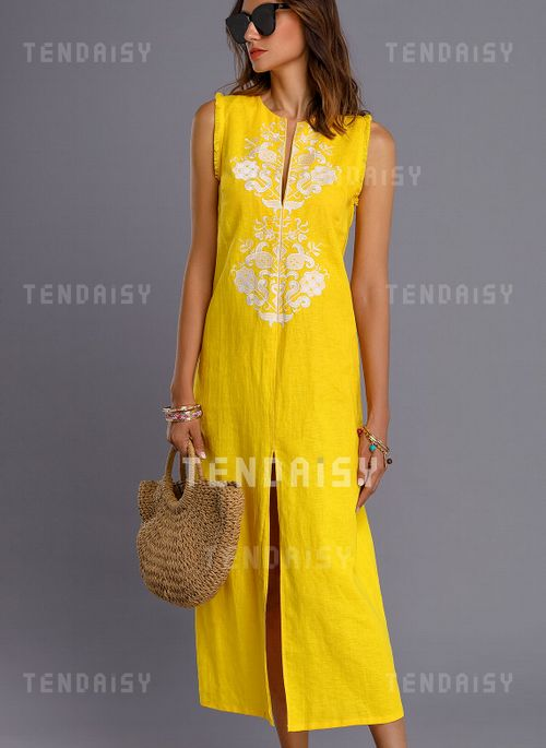92cfb692c2c27 Floral Embroidery Sleeveless Maxi Shift Dress - Tendaisy