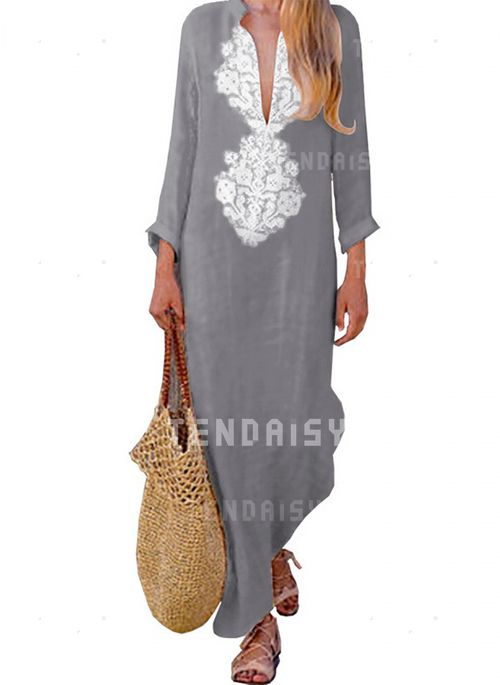 019cf778d80b2 Floral Embroidery Long Sleeve Maxi Shift Dress - Tendaisy